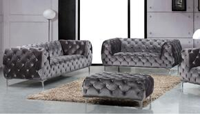 Mercer Collection 646-GRY-S-L 2 Piece Living Room Set with Sofa and Loveseat in Grey