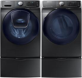 "Black Stainless Front Load Laundry Pair with WF45K6500AV 27"" Washer, DV45K6500GV 27"" Gas Dryer and 2 WE357A0V Pedestals"