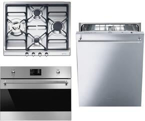 """3-Piece Kitchen Package with SR60GHU3 24"""" Gas Cooktop, SU45MCX1 24"""" Single Wall Oven, and STU8649X 24"""" Fully Integrated Dishwasher"""