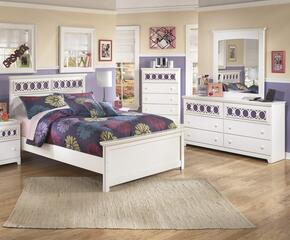 Zayley Full Bedroom Set with Panel Bed, Dresser and Mirror in White