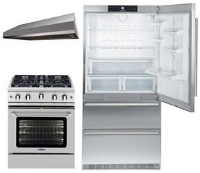 "3-Piece Kitchen Package with CS2060 36"" Bottom Freezer Refrigerator, MCR304N 30"" Freestanding Gas Range, and MAES3010SS600B 30"" Under Cabinet Convertible Hood in Stainless Steel"