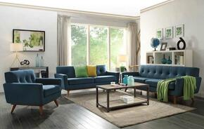 Mari Collection EM229WALMBLUSET 3 PC Living Room Set with Sofa + Loveseat + Lounge Chair in Marine Blue Color