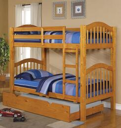 02359KDT Heartland Twin over Twin Bunk Bed + Trundle with Hardwood Solids and Veneers in Honey Oak Finish