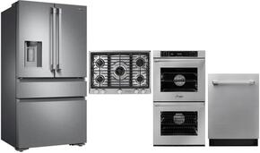 "4-Piece Stainless Steel Kitchen Package with DRF36C100SR 36"" French Door Refrigerator, RNCT305GSLPH 30"" Liquid Propane Cooktop, RNWO227PS 27"" Double Wall Oven, and DDW24S 24"" Fully Integrated Dishwasher"