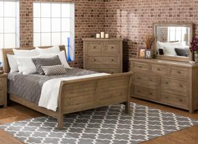 Slater Mill Collection 943QSBDM 3-Piece Bedroom Set with Queen Bed, Dresser and Mirror in Medium Brown
