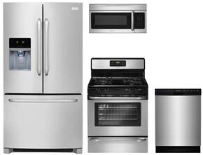 "4-Piece Kitchen with FFHB2740PS 36"" French Door Refrigerator, FFGF3053LS 30"" Gas Freestanding Range, FFBD2412SS 24""Built In Dishwasher and  FFMV164LS 30"" Over The Range Microwave Oven in Stainless Steel"
