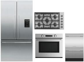"4 Piece Stainless Steel Kitchen Package With RF201ADUSX5 36"" French Door Refrigerator, OB30STEPX3 30"" Electric Wall Oven, DD24DCTX9 24"" Drawers Dishwasher and CE365DBX1 36"" Electric Cooktop For Free"
