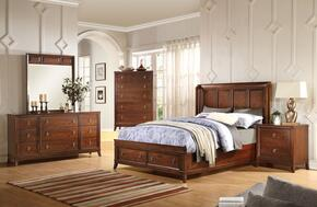 Midway 20977EK5PC Bedroom Set with Eastern King Size Bed + Dresser + Mirror + Chest + Nightstand in Cherry Finish