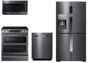 "4 Piece Kitchen Package With NE58K9850WG 30"" Slide In Electric Range, ME21K7010DG Over the Range Microwave Oven, RF23J9011SG 36"" French Door Refrigerator and DW80J7550UG 24"" Built In Dishwasher In Black stainless Steel"