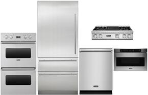 "5-Piece Stainless Steel Kitchen Package with MVBI7360WLSS 36"" Bottom Freezer Refrigerator, VEDO1302SS 30"" Electric Double Wall Oven, VGRT7364GSSLP 36"" Gas Cooktop, VMOD5240SS 24"" Undercounter DrawerMicro, and FDW302WS 24"" Fully In"