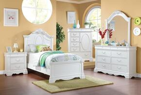 Estrella Collection 30235F5PC Bedroom Set with Full Size Bed + Dresser + Mirror + Chest + Nightstand in White Color