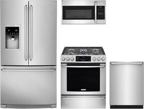 "4-Piece Kitchen Package with EI23BC37SS 36"" French Door Refrigerator, EI30GF45QS 30"" Gas Freestanding Range, EI24ID50QS 24"" Built In Dishwasher and  EI30SM35QS 30"" Over The Range Microwave Oven Stainless Steel"