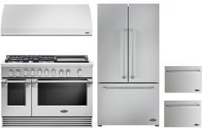 "4 Piece Kitchen Package With RGV2485GDN 48"" Gas Freestanding Range, VS48 48"" Wall Mount Hood, RF201ACJSX1 36"" French Door Refrigerator and two DD24SV2T7 24"" Drawers Dishwasher in Stainless Steel"