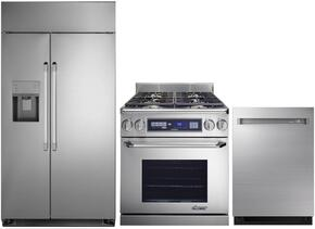 "3-Piece Stainless Steel Kitchen Package with DYF42SBIWS 42"" Side by Side Refrigerator, ER30DSCHNGH 30""  Freestanding Dual Fuel Range, and DDW24M999US 24"" Fully Integrated Dishwasher"