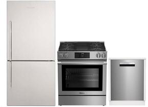 "3-Piece Kitchen Package with BRFB1812SSN 30"" Bottom Freezer Refrigerator, BGRP34520SS 30"" Freestanding Gas Range, and a free DWT58500SSWS 24"" Built In Fully Integrated Dishwasher in Stainless Steel"