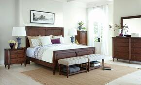Cranford 4800KPBNLCDM 5-Piece Bedroom Set with King Panel Bed, Nightstand, Lingerie Chest, Dresser and Mirror in Brown