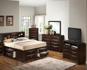 G1525GTSB3DMCHTV2 5 Piece Set including Twin Size Bed, Dresser, Mirror, Chest and Media Chest  in Cappuccino
