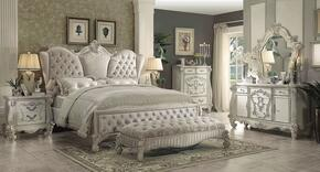 Versailles Collection 21130Q6PC Bedroom Set with Queen Size Bed + Dresser + Mirror + Chest + Nightstand + Bench in Bone White Color