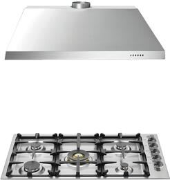 "2-Piece Stainless Steel Kitchen Package with QB36M500XLP 36"" Liquid Propane Cooktop and KU36PRO1X14 36"" Canopy Hood"