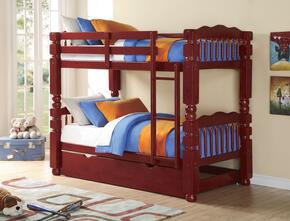 Benji 02570BT 2 PC Bedroom Set with Twin Bunk Bed + Trundle in Cherry Finish