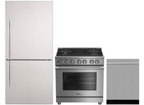 "3-Piece Kitchen Package with BRFB1812SSN 30"" Bottom Freezer Refrigerator, BDFP34550SS 30"" Freestanding Dual Fuel Range, and a free DWT57500SS 24"" Built In Fully Integrated Dishwasher in Stainless Steel"