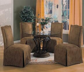 Slauson 120030BR 5 PC Dining Room Set with Table + 4 Parson Chairs in Brown Color