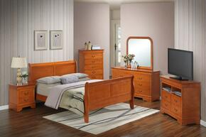 G3160AQBSET 6 PC Bedroom Set with Queen Size Sleigh Bed + Dresser + Mirror + Chest + Nightstand + Media Chest in Oak Finish