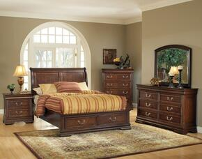 Hennessy 19448EK5PC Bedroom Set with Eastern King Size Bed + Dresser + Mirror + Chest + Nightstand in Brown Cherry Finish