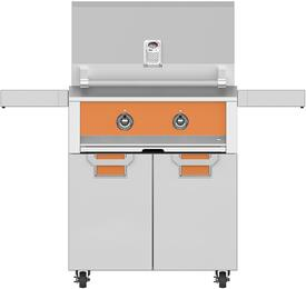 """30"""" Natural Gas Grill with ECD30OR Tower Grill Cart with Two Doors, in Citra Orange"""