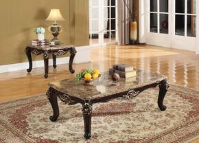 Barcelona 275CE 2 PC Living Room Table Set with Coffee Table + End Table in Brown Finish
