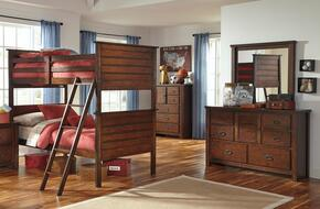 Ladiville Twin Bedroom Set with Bunk Bed, Dresser, Mirror and Chest in Rustic Brown