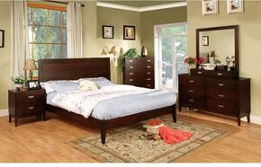 Crystal Lake Collection CM7910FBDMCJN 6-Piece Bedroom Set with Full Bed, Dresser, Mirror, Chest, Jewelry Storage and Nightstand in Dark Cherry Finish