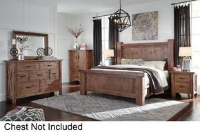 Tamilo Queen Bedroom Set with Poster Bed, Dresser, Mirror and Nightstand in Greyish Brown Finish