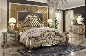 Dresden Collection 23157EKDM2N 5 PC Bedroom Set with Eastern King Size Bed + Dresser + Mirror + 2 Nightstands in Gold Patina Finish