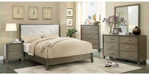 Enrico I Collection CM7068GYFBDMCN 5-Piece Bedroom Set with Full Bed, Dresser, Mirror, Chest and Nightstand in Grey Finish