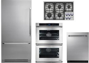 "4-Piece Stainless Steel Kitchen Package with DYF36BFBSR 36"" Bottom Freezer Refrigerator, DYCT365GSNG 36"" Natural Gas Cooktop, RNWO230ES 30"" Electric Double Wall Oven, and DDW24M999US 24"" Fully Integrated Dishwasher"