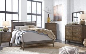Larsen Collection Queen Bedroom Set with Panel Bed, Dresser, Mirror, 2x Nightstands and Chest in Brown