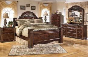 Gabriela King Bedrrom Set with Poster Bed, Dresser, Mirror and Nightstand in Dark Reddish Brown