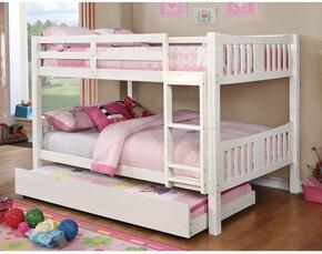 Cameron Collection CMBK929WHBEDT 2 PC Bedroom Set with Twin Size Bunk Bed + Trundle in White Finish