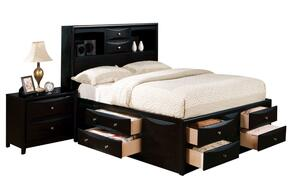 14102CKN Manhattan Storage California King Size Bed + Nightstand in Black Finish