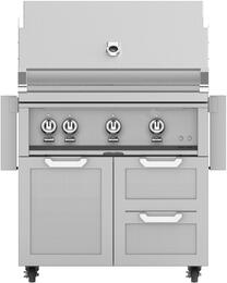 "36"" Freestanding Liquid Propane Grill with GCR36 Tower Grill Cart with Three Doors, in Steeletto Stainless Steel"