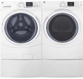 "White Front Load Laundry Pair with GFW450SSKWW 27"" Washer, GFD45GSSKWW Gas Dryer and Two SBSD137HWW Laundry Pedestals"