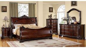 Bellefonte Collection CM7277KBDMCN 5-Piece Bedroom Set with King Bed, Dresser, Mirror, Chest and Nightstand in  Cherry Finish