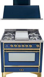 "2-Piece Midnight Blue Kitchen Package with UM90FDMPBL 36"" Freestanding Dual Fuel Range (Brass Trim, 4 Burners, Griddle) and UAM90BL 36"" Wall Mount Range Hood"