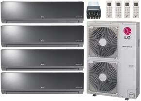 LMU540HVKIT49 Quad Zone Mini Split Air Conditioner System with 54000 BTU Cooling Capacity, 4 Indoor Units, Outdoor Unit, and Distribution Box