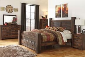 Bowers Collection King Bedroom Set with Poster Storage Bed, Dresser, Mirror, Nightstand and Chest in Dark Brown Finish
