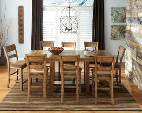 Regine Collection 9-Piece Dining Room Set with Dining Room Counter Table and 8 Barstools in Light Brown
