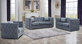 Cosmos Furniture ZIONGREYVELVETSET