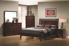 Serenity Collection 201971T4P 4 PC Bedroom Set with Twin Platform Bed + Dresser + Mirror + Nightstand in Rich Merlot Finish