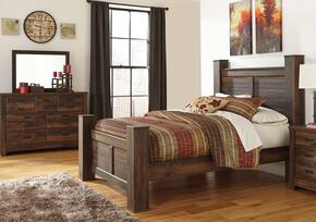 Bowers Collection Queen Bedroom Set with Poster Bed, Dresser and Mirror in Dark Brown